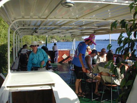 aboard the africian queen up the zambezi river